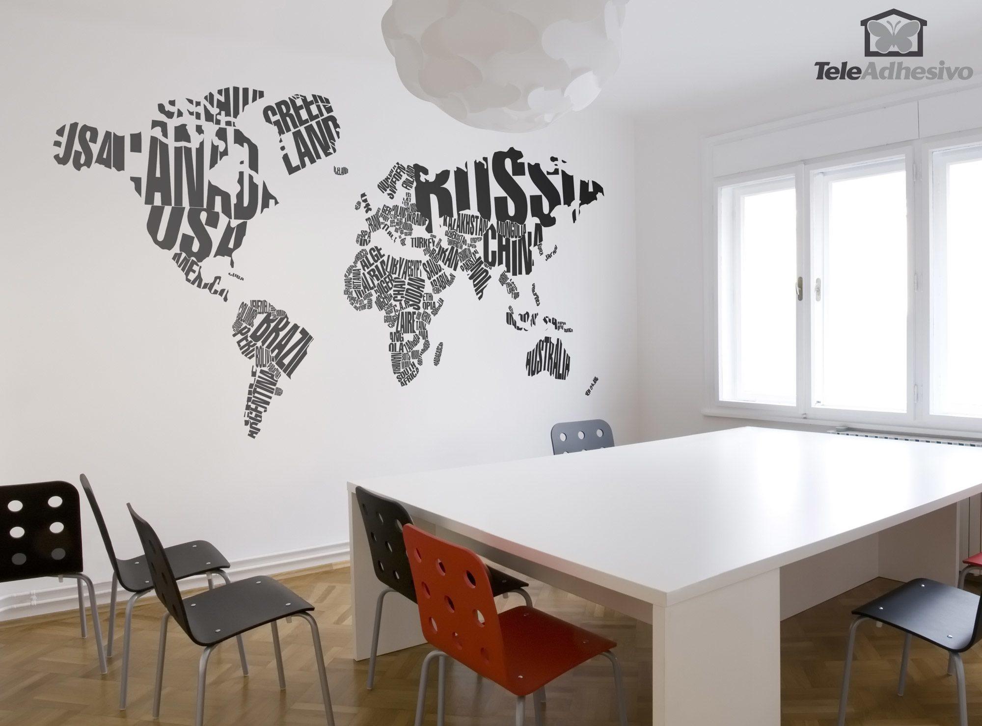 Wandtattoos: Typografische Weltkarte