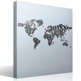 Wandtattoos: Typografische Weltkarte 3
