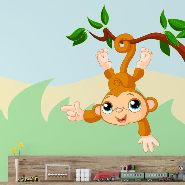 Wandtattoo kinder Affe hängen von Ast | WebWandtattoo.com
