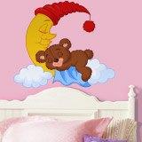 Kinderzimmer Wandtattoo: Teddy träumt auf einem Mond 3