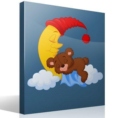 Kinderzimmer Wandtattoo: Teddy träumt auf einem Mond