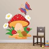 Kinderzimmer Wandtattoo: Pilz, Gänseblümchen, Schnecke und Schmetterling 0