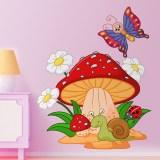 Kinderzimmer Wandtattoo: Pilz, Gänseblümchen, Schnecke und Schmetterling 1