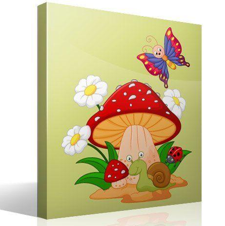 Kinderzimmer Wandtattoo: Pilz, Gänseblümchen, Schnecke und Schmetterling