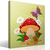 Kinderzimmer Wandtattoo: Pilz, Gänseblümchen, Schnecke und Schmetterling 2