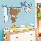 Kinderzimmer Wandtattoo: Bär und Vogel auf der Wäscheleine 3