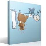 Kinderzimmer Wandtattoo: Bär und Vogel auf der Wäscheleine 4