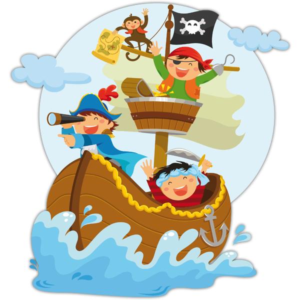 Kinderzimmer Wandtattoo: Piraten segeln auf seinem Boot