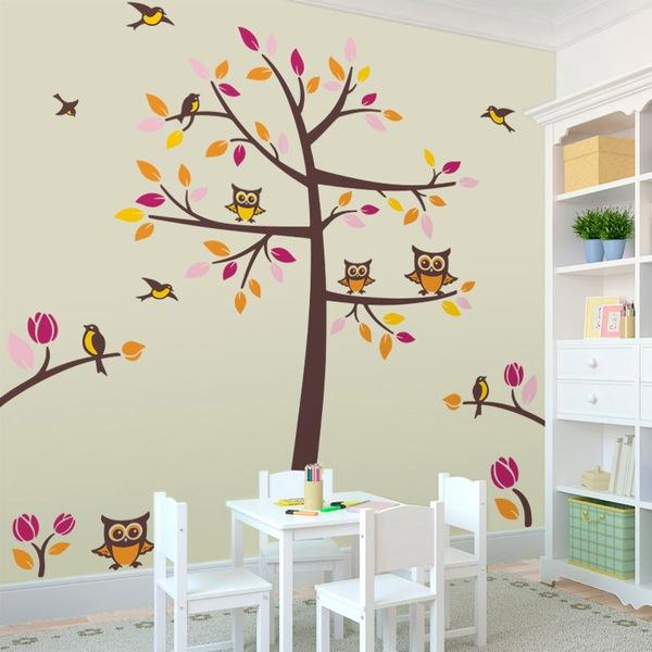 Wandtattoo kinder Baum mit Vögeln und Eulen   WebWandtattoo.com