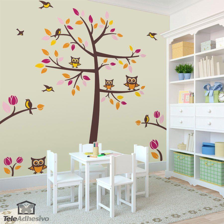 Wandtattoos: Baum, Vögel und Eulen