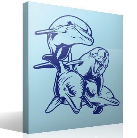 Wandtattoos: 4 Dolphins Meeresboden