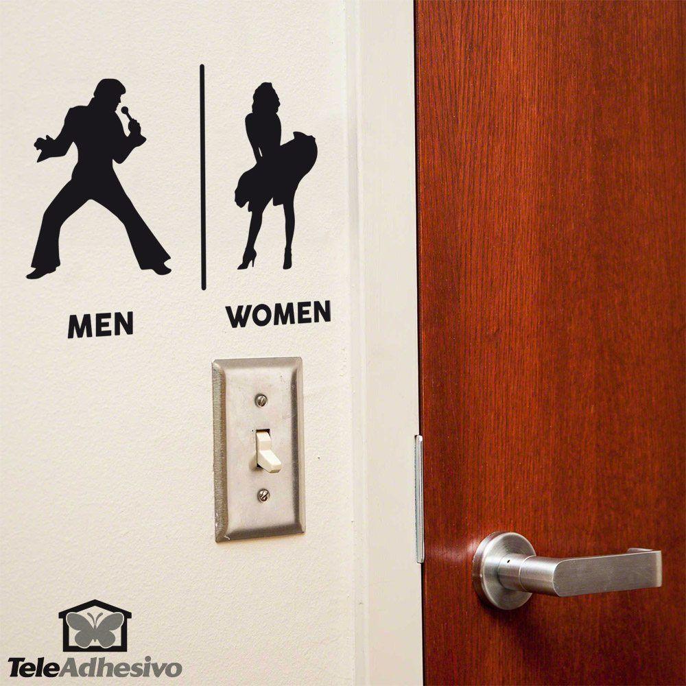 Wandtattoos: Elvis Marilyn Toilettenzeichen Englisch