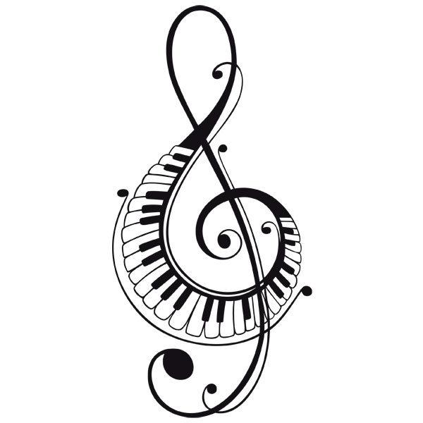 Wandtattoos von violinschl ssel mit klaviertasten for Klebefolie transparent farbig