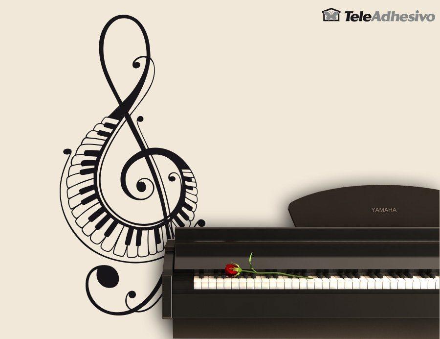 Wandtattoos: Im Violinschlüssel mit Klaviertasten