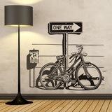 Wandtattoos: Weinlese-Fahrrad auf Verkehrszeichen One Way 0