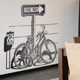 Wandtattoos: Weinlese-Fahrrad auf Verkehrszeichen One Way 2