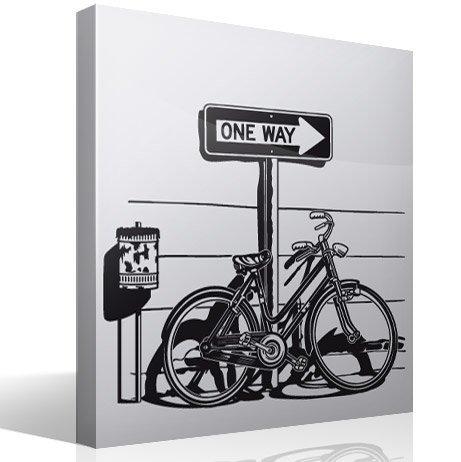 Wandtattoos: Weinlese-Fahrrad auf Verkehrszeichen One Way