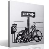 Wandtattoos: Weinlese-Fahrrad auf Verkehrszeichen One Way 3
