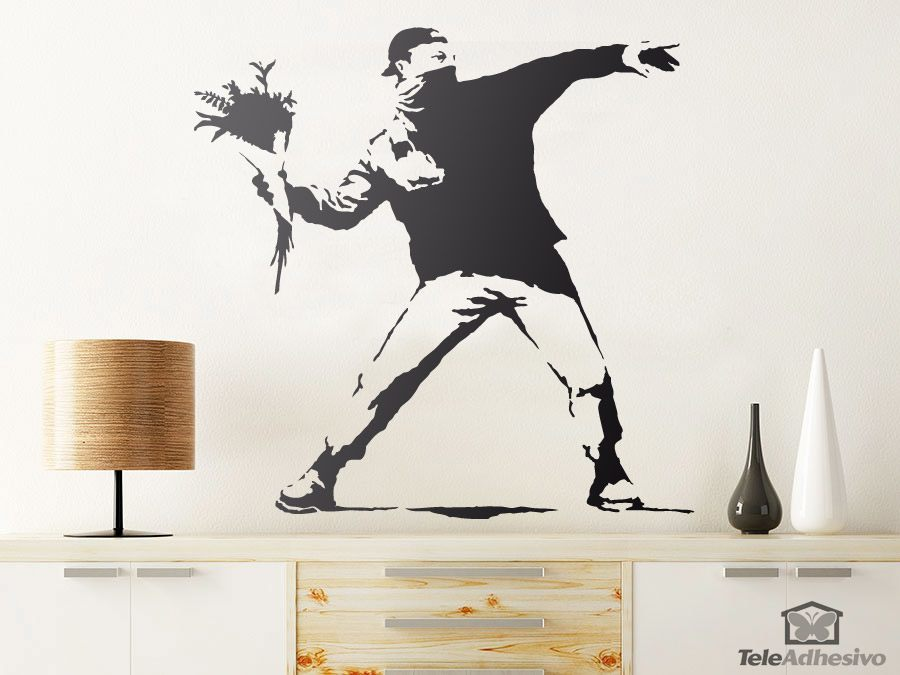 Wandtattoos: Banksy Blume Werfen Protest