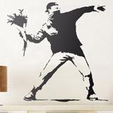 Wandtattoos: Banksy Blume Werfen Protest 2