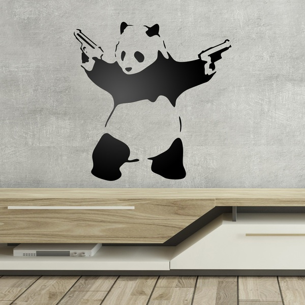 wandtattoo banksy panda reuniecollegenoetsele. Black Bedroom Furniture Sets. Home Design Ideas