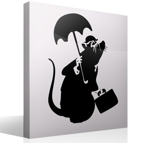 Wandtattoos: Ratte mit Regenschirm von Banksy