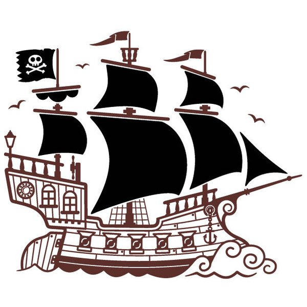 Wandtattoo kinder gro es piratenschiff for Braune klebefolie
