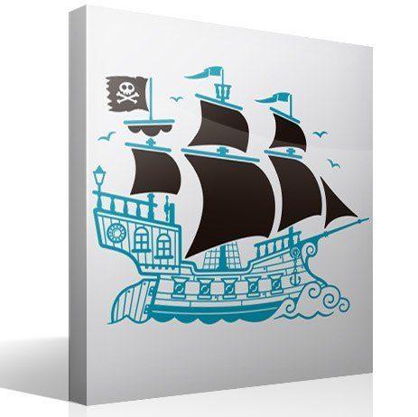Kinderzimmer Wandtattoo: Großes Piratenschiff