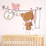 Kinderzimmer Wandtattoo: Bär auf der Wäscheleine rosa 3