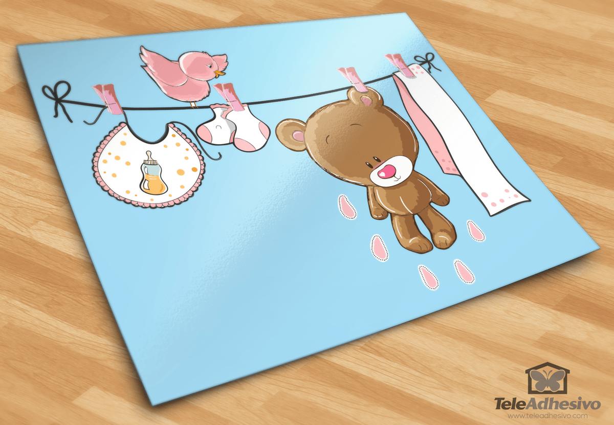 Kinderzimmer Wandtattoo: Bär auf der Wäscheleine rosa