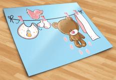 Kinderzimmer Wandtattoo: Bär auf der Wäscheleine rosa 5