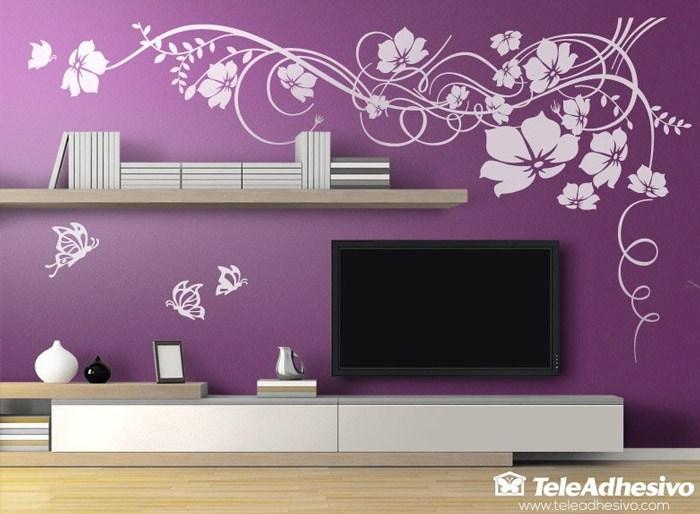 Wandtattoos: Blumen mit Schmetterlingen
