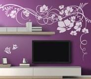 Wandtattoos: Blumen mit Schmetterlingen 2