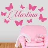 Kinderzimmer Wandtattoo: Personalisierte Schmetterlinge 2 1