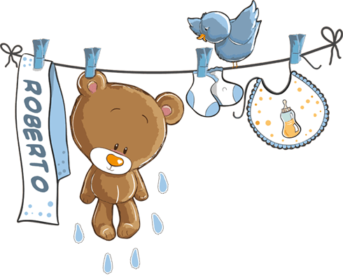 Kinderzimmer Wandtattoo: Teddybär auf eine Clothesline blauen von namen