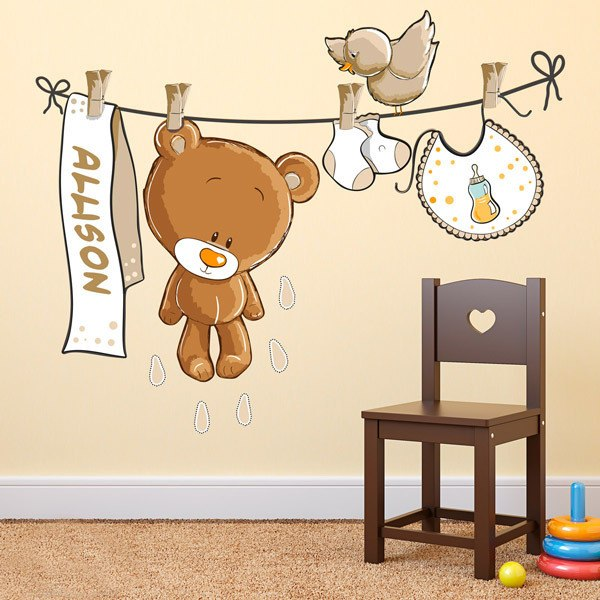 Wandtattoo kinder Teddybär auf eine Clothesline neutral von ...