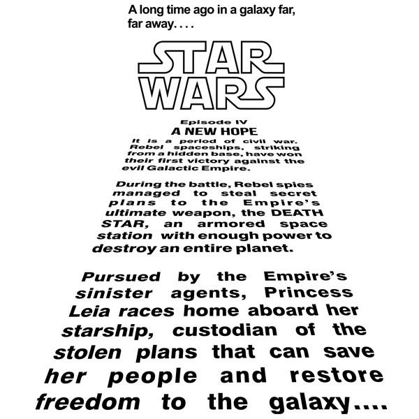 Wandtattoos: Star Wars Intro Text