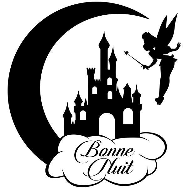 Kinderzimmer Wandtattoo: Tinkerbell, Castle and Moon Bonne Nuit