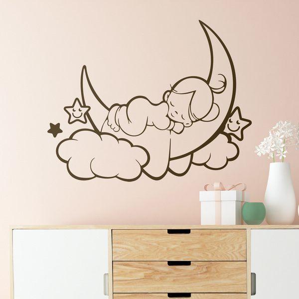 Wandtattoo babyzimmer mädchen schläft auf dem Mond ...