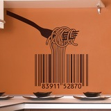 Wandtattoos: Gabel, Spaghetti und Barcode- 0