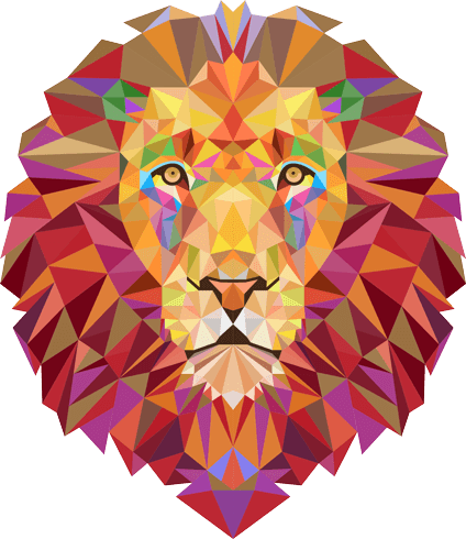 Wandtattoos: Lion Kopf Origami