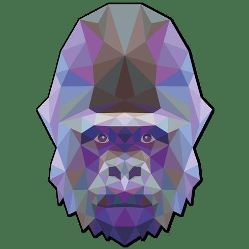 Wandtattoos: Gorilla Kopf Origami