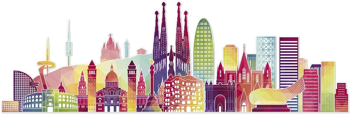 Wandtattoos: Barcelona Skyline Farbe