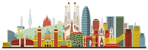 Wandtattoos: Barcelona Skyline Farbe 2