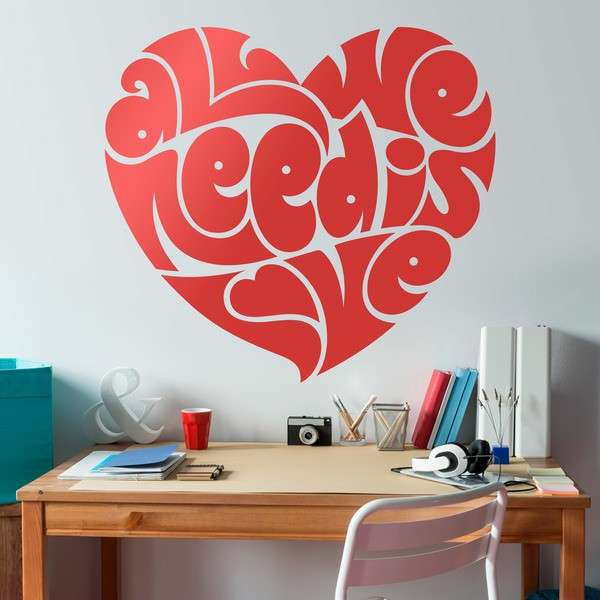 Wandtattoos: Herz All we need is love