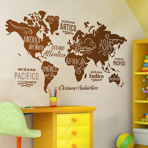 wandtattoo karte mundi ozeane und kontinente auf spanisch. Black Bedroom Furniture Sets. Home Design Ideas