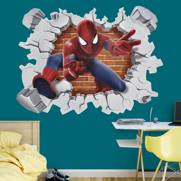 Kinderzimmer Wandtattoo: Loch in der Wand Spiderman