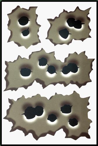 Aufkleber: Rapid fire bullet hole