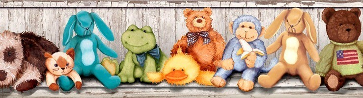 Kinderzimmer Wandtattoo: Bordüre Kuscheltiere
