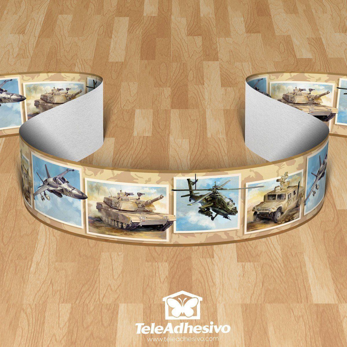 Kinderzimmer Wandtattoo: Bordüre Panzer